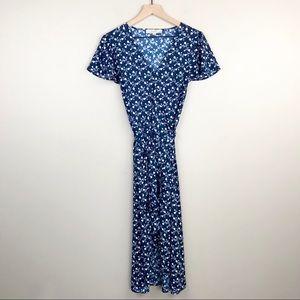 LOFT Navy Floral Size 10 Wrap Midi Dress